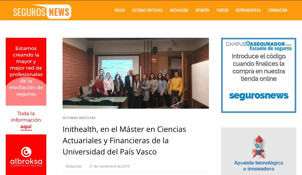 Inithealth, en el Máster en Ciencias Actuariales y Financieras de la Universidad del País Vasco